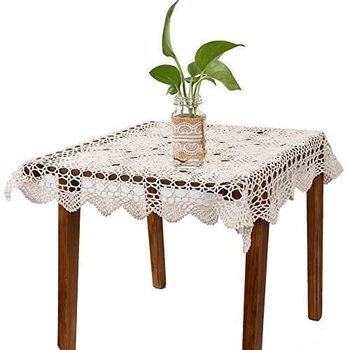 Yazi Nappe vintage crocheté à la main Motif fleurs Beige Carré 60 cm