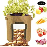 QCUTEP 2/4 Pcs Potato Grow Bags, Round Potato Planter Bags 15 Gallon Felt Plant Container with Flap Access and Handles