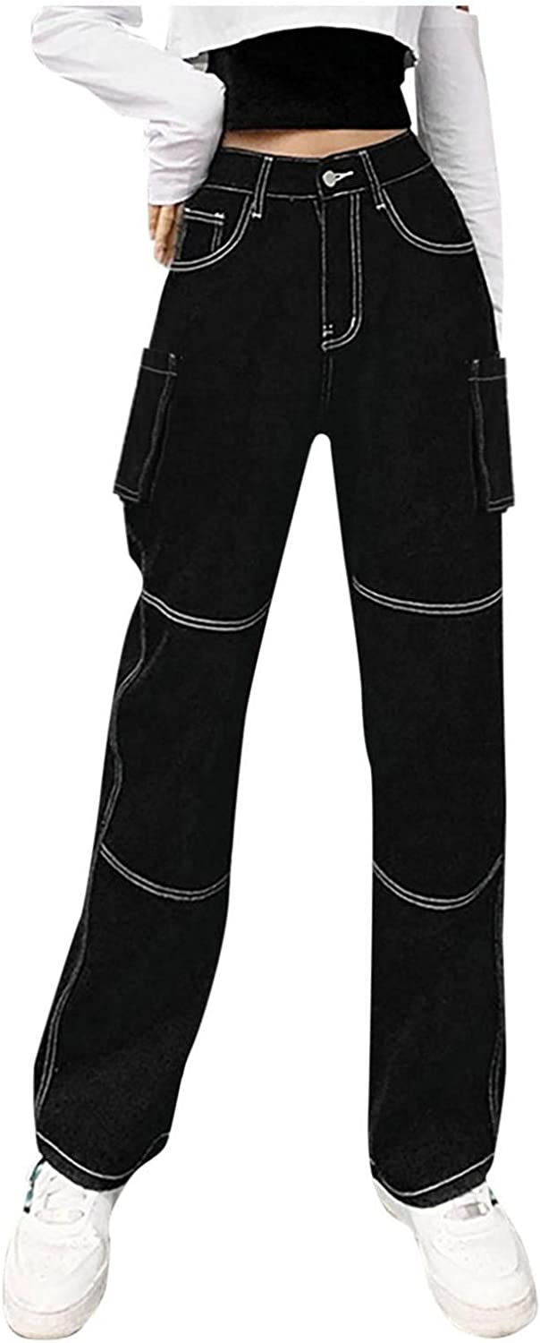 Women's Fashion Y2K Jeans, High Waisted Jeans with Big Pockets Zipper Black Cargo Jeans Vintage Straight Leg Trousers