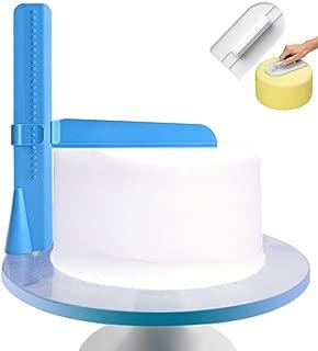 GADENT Adjustable Cake Scraper, Plastic Cake Cream Smoother, Easy Comb Set Edge Side Decorating Tools, With Free Tools (BLUE + Scraper)