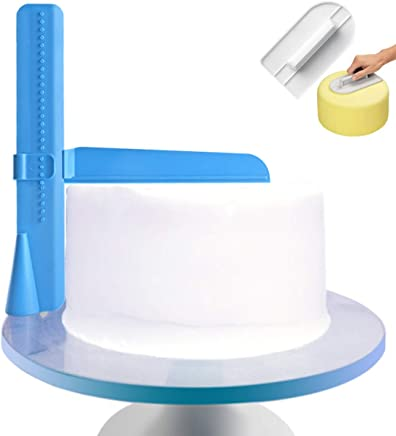 GADENT Adjustable Cake Scraper, Plastic Cake Cream Smoother, Easy Comb Set Edge Side Decorating Tools, with Free Tools (Blue + Scraper)