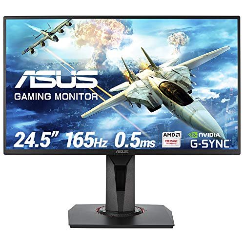 ASUS VG258QR 25'' (24.5'') FHD (1920 x 1080) Esports Gaming Monitor per PC, 0.5 ms, 165 Hz, DP, HDMI, DVI-D , Super Narrow Bezel, FreeSync, Compatibile G-Sync, Filtro Luce Blu, Flicker Free
