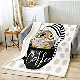 Owl Sherpa Throw Blanket Coffee Cartoon Cup Bed Fleece Blanket Contemporary Style Throw Size (50inchx60inch) Sherpa Throw Blanket Flannel Blankets for Couch Bed