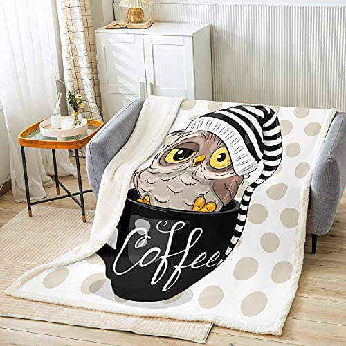 Coffee Cup Owl Throw Blanket