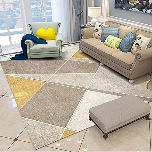 WCCCW Marrón y Amarillo Costura patrón geométrico Resistente a la Suciedad y Transpirable Sala de Estar Dormitorio Sala de Estar alfombra-80x120cm para el salón fácil de Limpiar Igual Que la Foto
