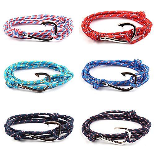 AODOOR 6 Stück Anker Armband Damen, Geflochtene Armbänder für Mann, Segeltau Armband Frauen Bunt Marine Seil, Nautische Surf Armband für Männer Herren, Einstellbar Armkettchen - Geschenke für Paare