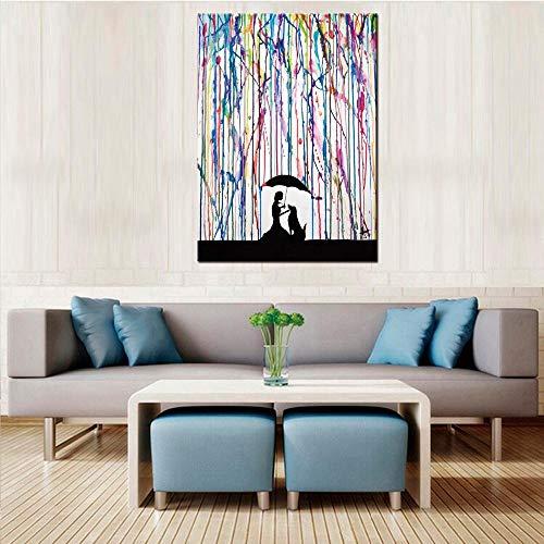 nobrand 1 bord kunst muurkunst grote kleurrijke graffiti Street Artwork vrouw met paraplu hond canvasdruk schilderij-60x90cm nee ingelijst