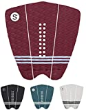 Sympl Surfboard Traction Pad • 3 Piece Deck Pad for Surfing, Skimboarding • Maximum Grip • 3M Adhesive • Fits Surfboards, Skimboard, Longboard, Fish (Maroon)