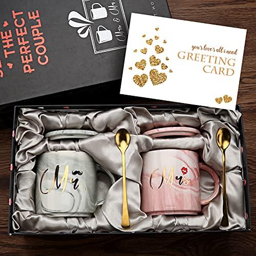Mr and Mrs Coffee Mugs - Cadeau de Mariage pour mariée et Le marié Cadeau pour Cadeau de fiançailles Douche Nuptiale et Cadeau d'anniversaire de Couples mariés - marbre céramique 12 oz Cadeaux (Ronde)