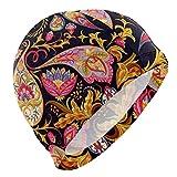Tcerlcir Gorro Natación Estampado Floral Vintage Gorro de Piscina para Hombre y Mujer Hecho de Silicona Ideal para Pelo Largo y Corto