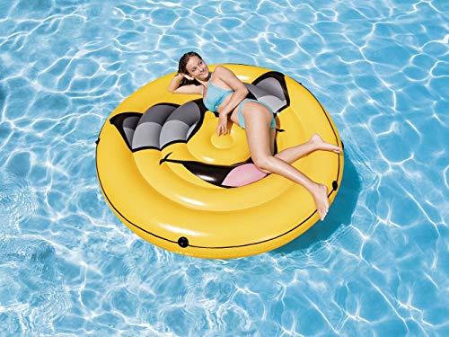Bavaria Home Style Collection Aufblasbare Luftmatratze Gesicht Smile - Pool-Insel - Insel Badeinsel - Luftmatratze Rund Wasser -der Coole Badespass im Pool oder am See 173 x 27 cm Groß