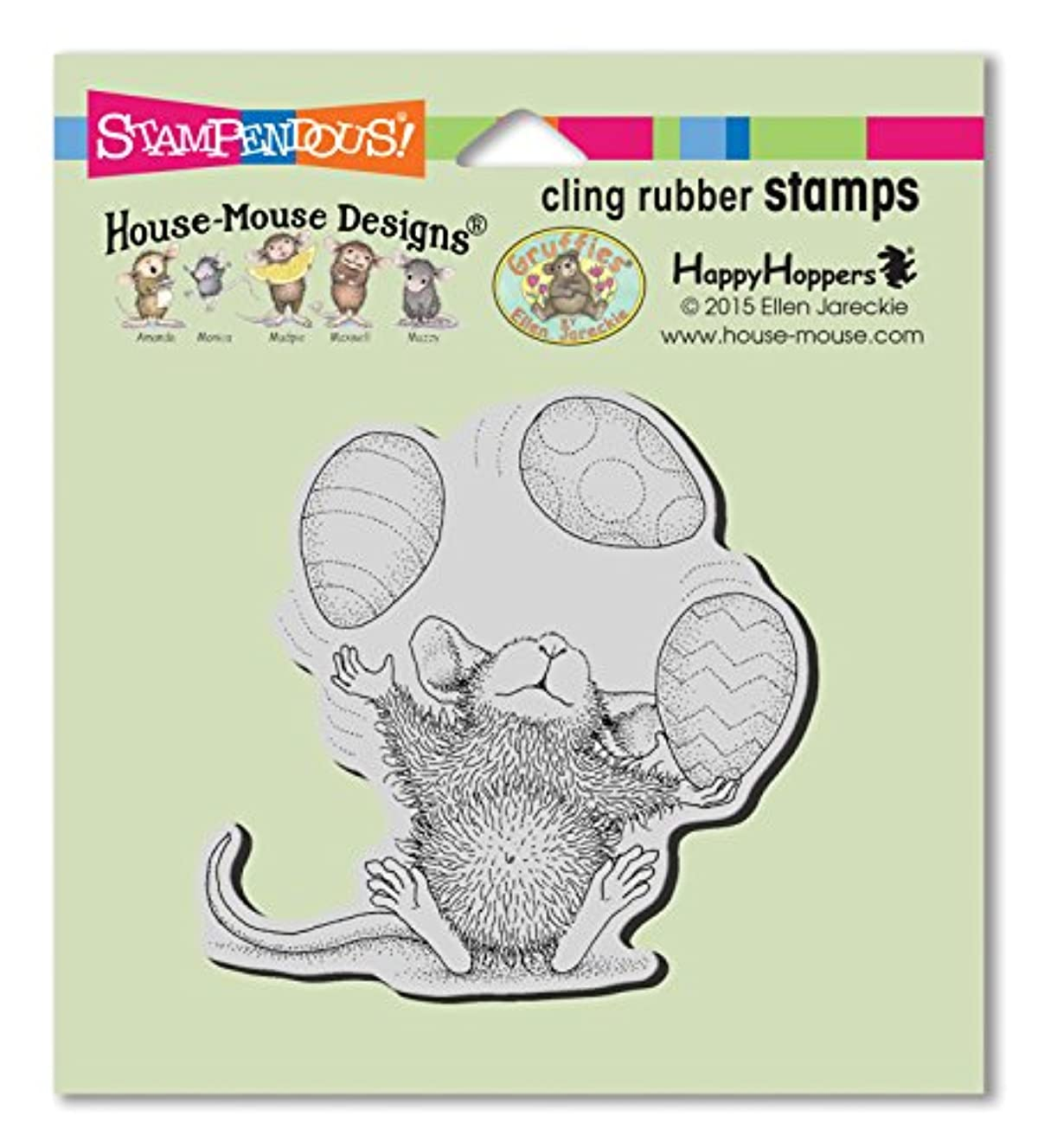 STAMPENDOUS House Mouse Cling Rubber Stamp Easter Egg Juggle