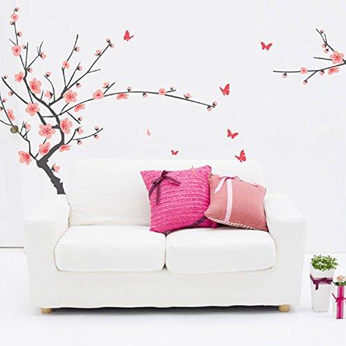 Lifeupmall Sticker mural décoratif pour salon ou chambre à coucher Motif fleurs de pêcher