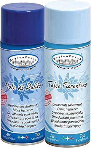HygienFresh Note di Pulito Talco Fiorentino – Spray ambientador profesional para tejidos de ambiente, cajones, zapatos, armario, hotel, gimnasio, accesorios de lavandería – 2 unidades de 400 ml