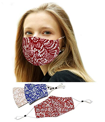 Sunne Tropical 3 Colors Pack Lace Mask - Teens Girls & Women 100% Cotton Fabric - 4 Ply Adjustable Earloops Laces Print Face Masks - Red Blue Beige