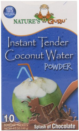 Nature's Guru Instant Tender Coconut Water Powder Chocolate 10 Count Single Serve On-the-Go Drink Packets (Pack of 8)