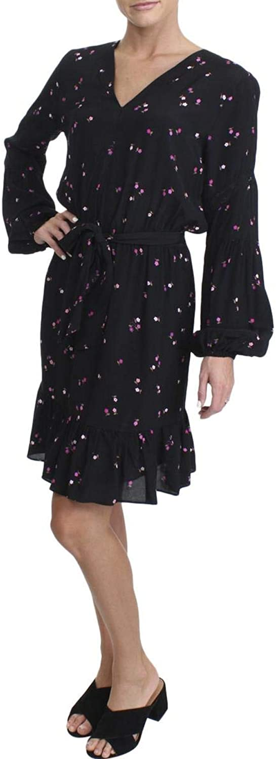 Juicy Couture Black Label Womens Flirty Floral Print Bishop Sleeves Casual Dress
