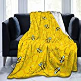 Cute Yellow Bees and Honeycombs Fleece Throw Blanket Plush Soft Throw for Bed Sofa, 80'X60'