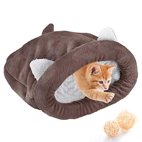 Saco de Dormir de Gatito Casa de Invierno Suave Y Gruesa Cama de Gato Cueva Caliente Acogedor Saco de Dormir Cubierto para Cachorros Perros Pequeños Gatos de Todos Los Tamaños