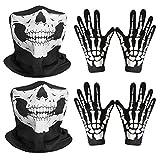 REYOK 2 Set Schädel Gesichtsmaske mit und Skelett Handschuhe,Weiße Skelett Handschuhe und Schädel...
