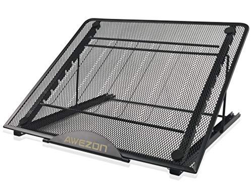 Awezon Soporte ajustable para portátil, soporte plegable para tableta, bandeja portátil, almohadilla de refrigeración plegable, soporte ligero para computadora de escritorio