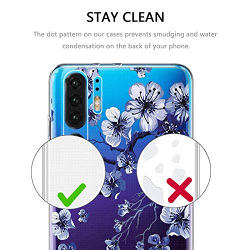 pooier Kompatibel Mit Huawei P30 Pro Hülle Durchsichtig Silikon Handyhülle Ultra Slim Wasserdicht Schutzhülle Elegant Muster Clear Rosa Blumen Tasche (Huawei P30 Pro, TPU Lila) - 4