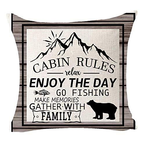 Cabin Rules Make Memories Gather with Family Relax Mountain Bear El mejor regalo para camping, viajes, algodón y lino, funda de almohada decorativa para sofá cama, entrenador de cama, 45,72 x 45,72 cm