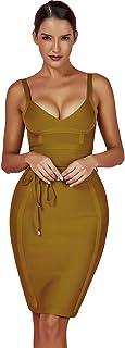 Maketina Women's Rayon Strappy Belt Detail Cocktail Club Bodycon Party Bandage Dress