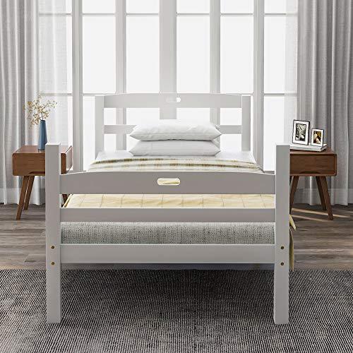 Harper Bright Designs Holzbett Massivholzbett Bett Einzelbett mit Lattenrost Bettgestell,Kopfteil mit Griff,für Kinder, Jugendliche und Erwachsene,Weiß (200x90cm)