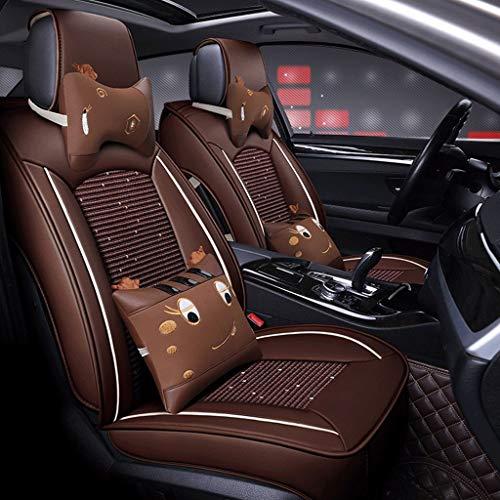 Housse de Sieges Auto Car Seat Covers, 5 Seat ensemble complet universel compatible Airbags frontaux arrière Respirant Confort Protecteur en cuir Coussin imperméable (Color : Coffee color)