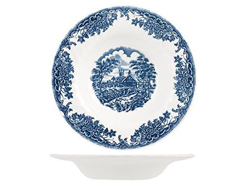 Churchill Brook Blue Juego de platos hondos, Earthware, blanco/azul, 6 unidades