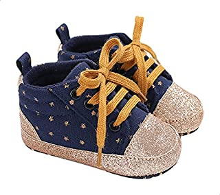 Mix & Max Two-Tone Stars-Pattern Lace-up Sneakers for Girls - Navy and Gold, 12-18 Months