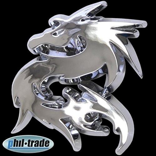 3D Chrom Emblem Aufkleber Logo Drache Dragon Drachen Lindwurm L012