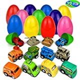 Toy Filled Easter Eggs Filled with Pull-Back Vehicles Cars Trucks Tank Surprise Egg Hunt for Kids Boys and Girls (Easter Egg 1)