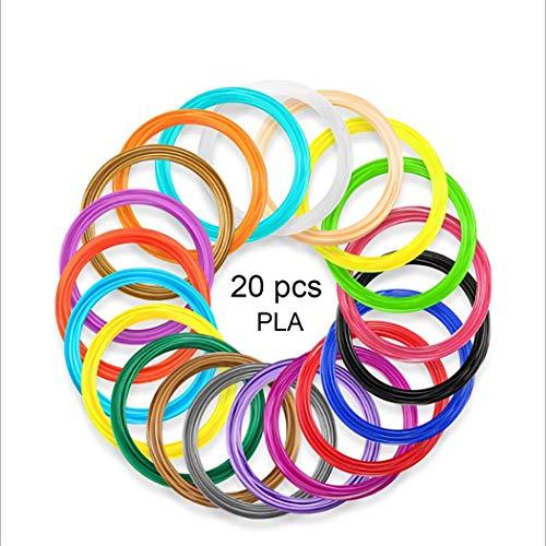SUNLU 3D Pen Filament 1.75mm PLA- 3D Pen Refills (20 Colors, 16.4 Feet Each), 3D Printer Filament for 3D Print Pen