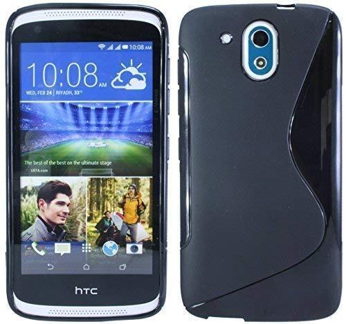 ENERGMiX Silikon Hülle kompatibel mit HTC Desire 526G Tasche Hülle Gummi Schutzhülle Zubehör in Schwarz