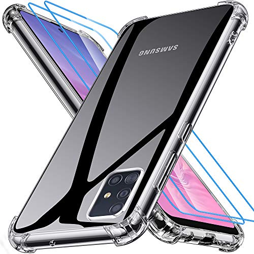 Joyguard Samsung A51 Hülle[2 Panzerglas Schutzfolie], Samsung Galaxy A51 Handyhülle Silikon Transparent TPU Dünn Slim Kratzfest Bumper Hülle Stoßfest Samsung A51 Hülle Silikon-Klar(6.3