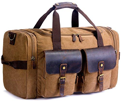 2020 Upgrade Canvas Holdall Weekend Bag SUVOM Travel Bag Mens Leather...