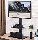 FITUEYES TV Floor Stand with Mount for TVs up to 65 Inch LCD LED Flat/Curved Screens, Universal Swivel Televisions TV Mount Stand for Bedroom Living Room, Black Tempered Glass Base,TT207001MB #3