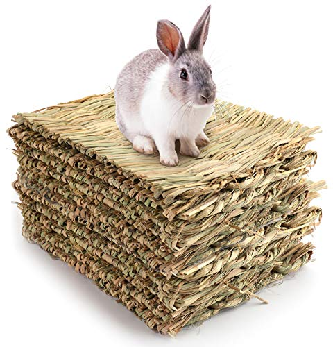 Yesland 12 Pack Woven Bed Mat for Rabbits - Grass Mat & Bunny Bedding Nest - Natural Chew Toy Bed for Guinea Pig Chinchilla Squirrel Hamster Cat Dog and Small Animal
