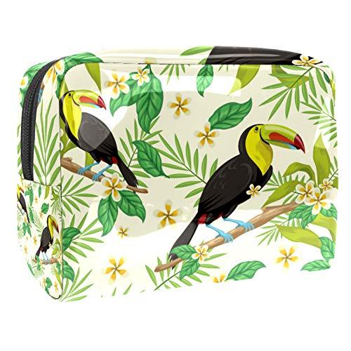Bolsa de maquillaje portátil con cremallera, bolsa de aseo de viaje para mujeres, práctica bolsa de almacenamiento cosmético, hojas tropicales y pájaros
