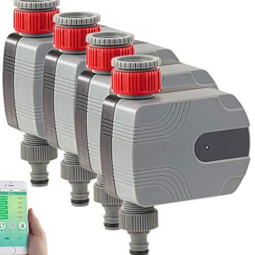 Royal Gardineer Wasserhahn Bluetooth: 4er-Set Bewässerungscomputer mit Bluetooth und App-Steuerung (Bewässerungscomputer per App)
