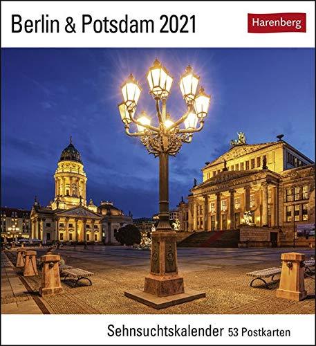 Berlin & Potsdam Sehnsuchtskalender 2021 - Postkartenkalender mit Wochenkalendarium - 53 perforierte Postkarten zum Heraustrennen - zum Aufstellen ... x 17,5 cm: Sehnsuchtskalender, 53 Postkarten