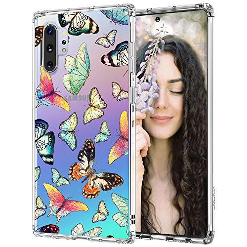 for Samsung Galaxy Note 10 Plus Case, for Samsung Galaxy Note 10 Plus 5G Case, MOSNOVO Crystal Clear Slim Soft TPU + PC Cover Case with Butterfly Design Case for Galaxy Note 10+/Note 10+ 5G (2019)