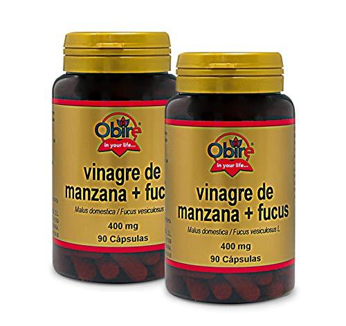 Obire | Vinagre de Manzana + Fucus 400 mg | Ayuda a Reducir el Colesterol LHL | Mejora el Estreñimiento | Facilita la Digestión y la Pérdida de Peso | 90 Cápsulas (Pack 2 unid.)