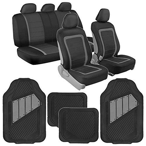 BDK Advanced Performance Black & Gray Charcoal Car Seat Covers & Heavy Duty Rubber Floor Mats Combo (w/ Motor Trend 2-Tone Mats)