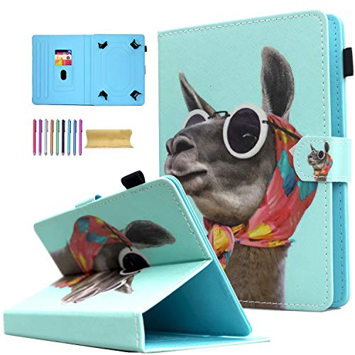 Universal 8.0 inch Tablet Case, AMOTIE Magnetic Closure Flip Stand Cover with Card/Cash Slots for iPad Mini/Galaxy Tab 8.0 Tablet/Amazon Kindle Fire HD HDX Other 8.0 Tablet, Hooded Alpaca