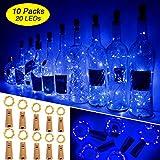Weinflaschen Licht mit Korken 10 Packeng 20 Led Lichterkette für Flasche Lichterketten Stimmungslichter Weinflasche Kupferdraht, Batteriebetriebene für DIY Partys, Weihnachten, Halloween(Blau)
