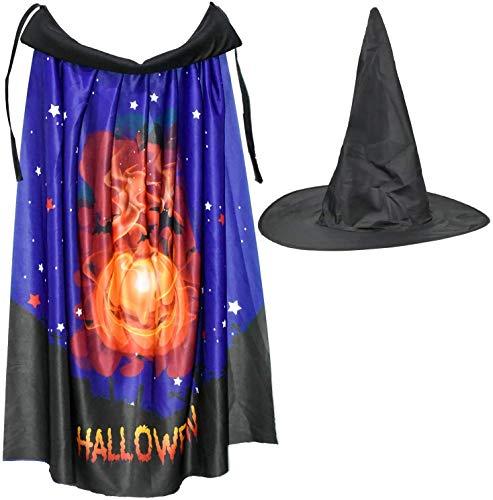 Halloween Men Women Costume Cape Pumpkin with Magic Hat Cloak Pumpkin Print Cape for Toddlers Boys Girls Cosplay (Length 80cm) WTZ012