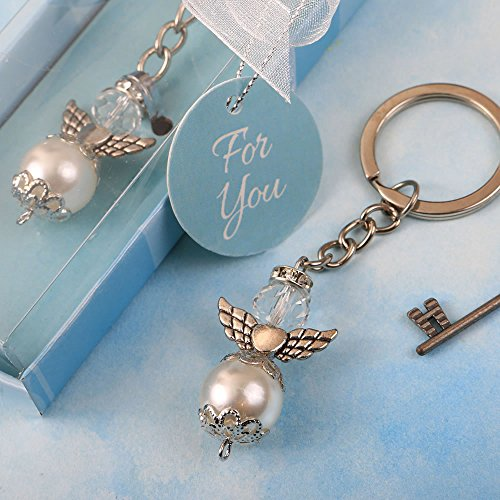 FavorOnline Elegant Angel Themed Pearl and Crystal Key Chain with Silver Accent Angel Wings, 48